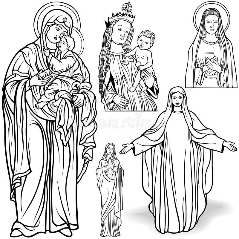 Jungfrau Mary Set stock abbildung