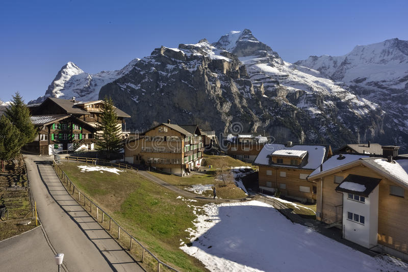 Jungfrau Massive and Eiger north wall from Murren, Switzerland royalty free stock images