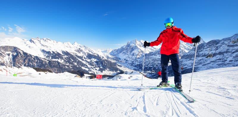Jungfrau szwajcarski narciarski Alpejski halny kurort, Grindelwald, Szwajcaria obrazy stock