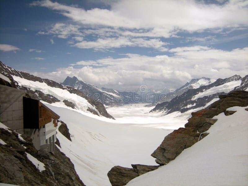 Jungfraujoch看法,欧洲,瑞士上面  免版税图库摄影