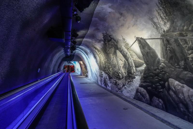 Jungfraujoch驻地冰宫殿  图库摄影
