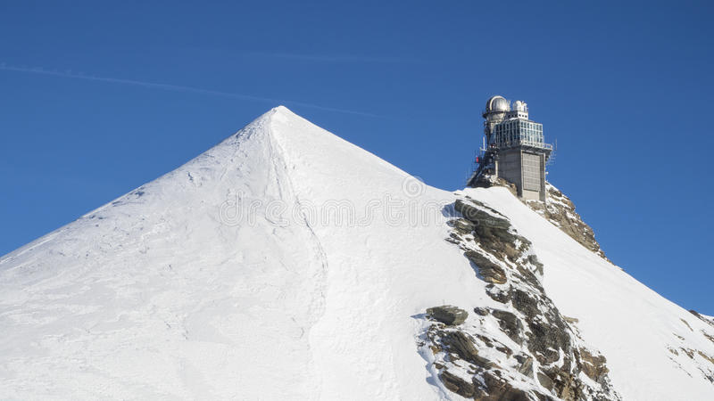 Jungfraujoch glacier snowcapped mountain range. stock photo