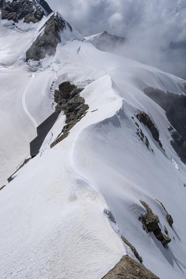 Jungfraujoch 3471 metres seen from Sphinx Observatory,. Grindelwald, Canton of Berne, Switzerland royalty free stock image