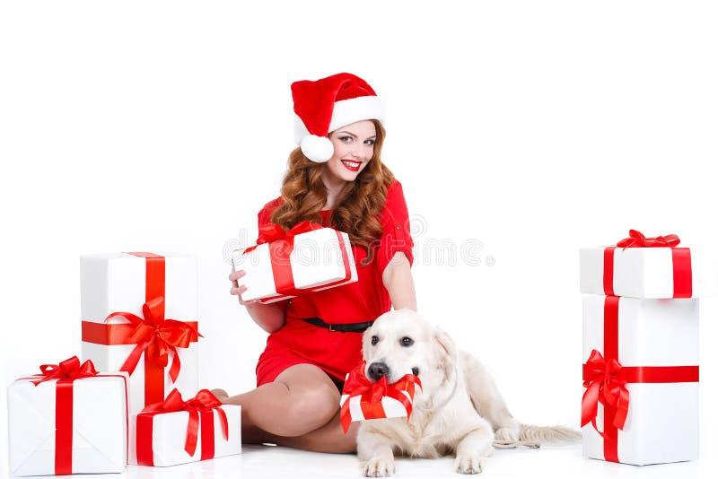 Jungfru och labrador hund med julgåvor royaltyfri foto
