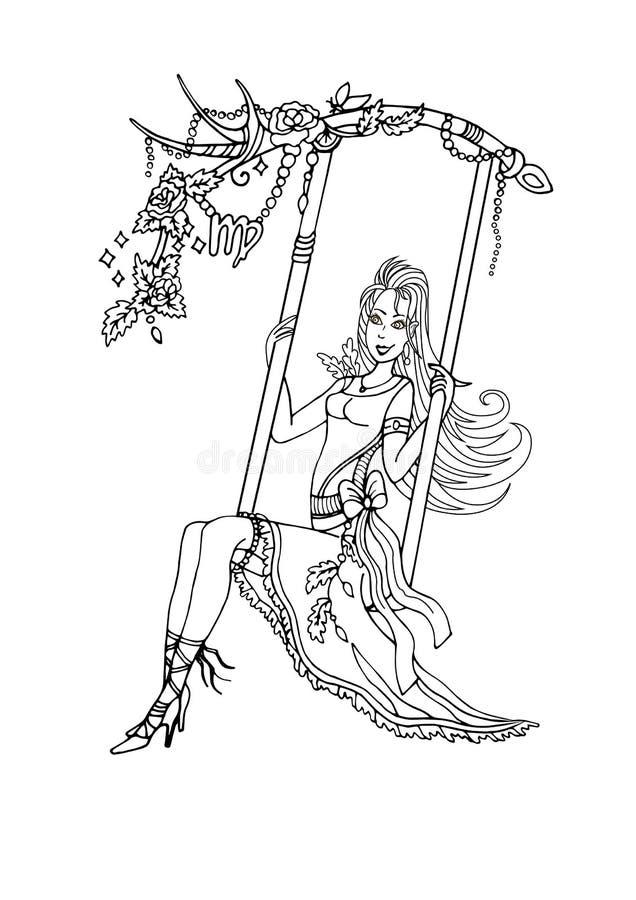 Jungfru på en gunga och ett smittsamt skratt royaltyfri illustrationer
