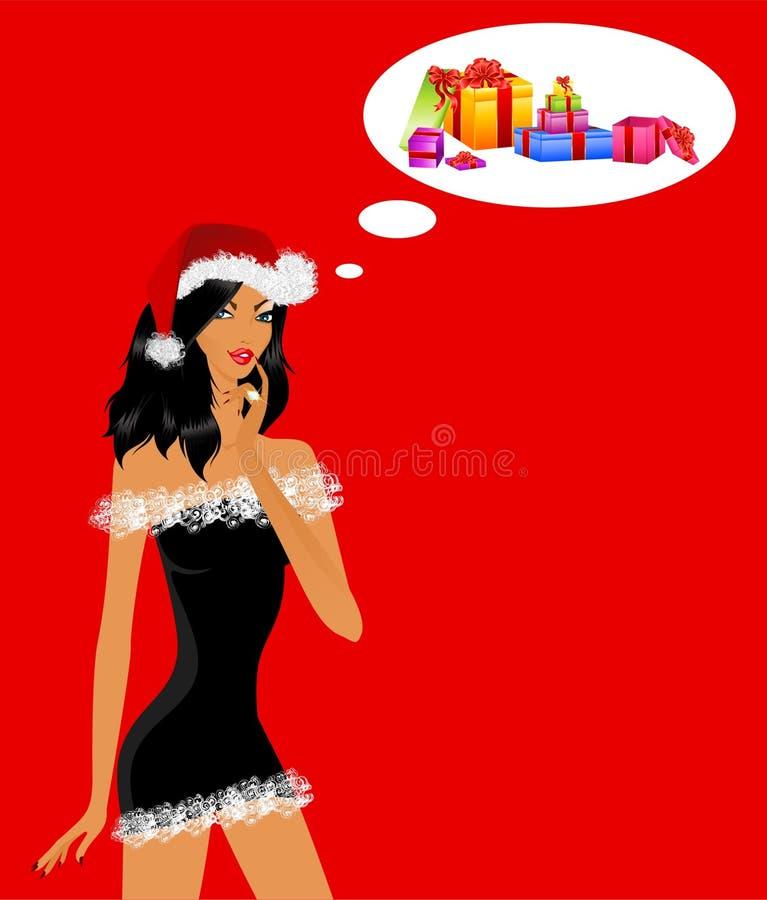 jungfru- snowdräkt för härlig flicka royaltyfri illustrationer