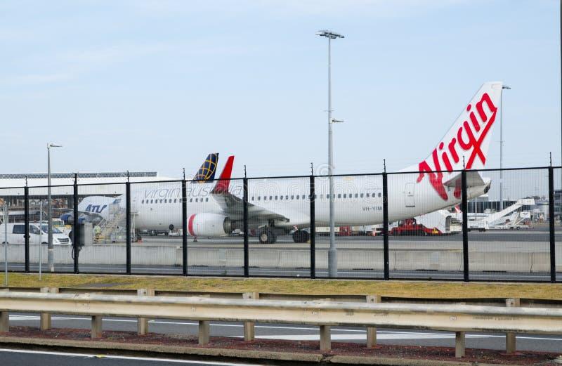 Jungfrulig flygbolagnivålandning på den Sydney Kingsford smedflygplatsen, Australien royaltyfri foto