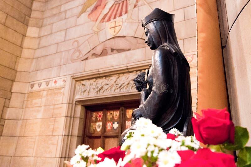 Jungfrulig staty i den laPlata domkyrkan med blommor i förgrunden arkivfoton