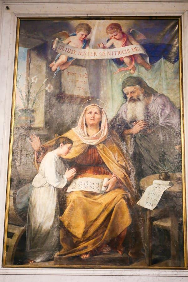 Jungfruliga Mary målning inom basilika av helgonet Mary Major royaltyfri fotografi
