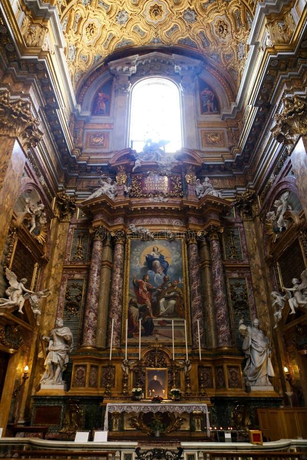 Jungfruliga Mary målning inom basilika av helgonet Mary Major arkivbilder