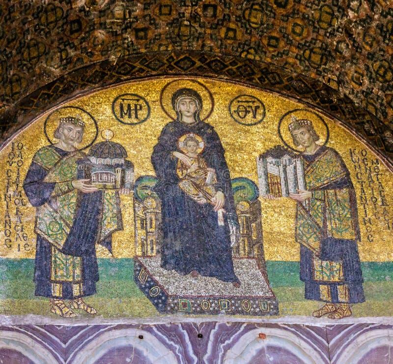 Jungfruliga Mary och helgonsymbol i Hagia Sophia arkivfoton