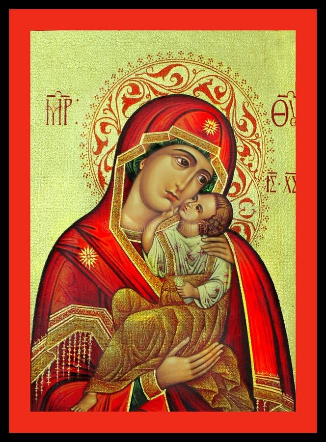 Jungfruliga Mary och Jesus Greek Icon royaltyfria foton