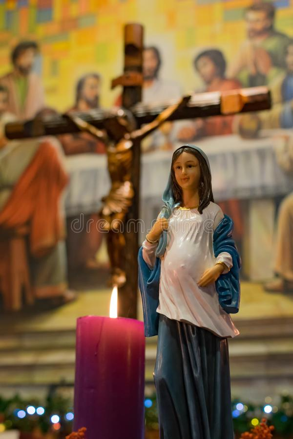 Jungfruliga Mary, symbol av kristendomen som moder av Jesus Christ royaltyfria bilder