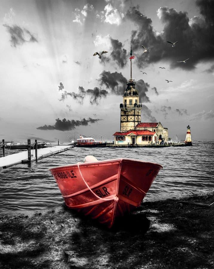 Jungfrus torn i istanbul Turkiet arkivbild