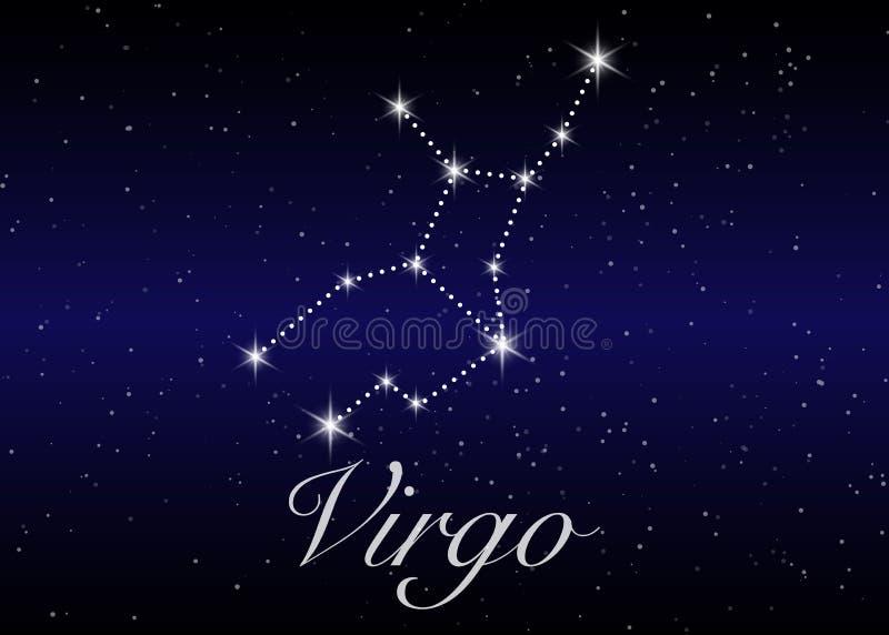 Jungfruzodiakkonstellationer undertecknar på härlig stjärnklar himmel stock illustrationer