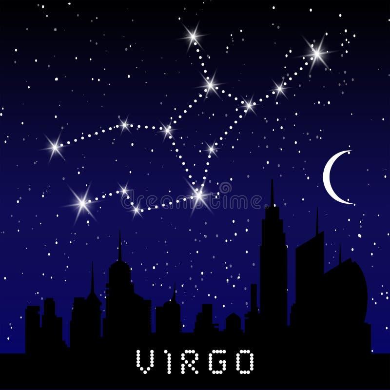 Jungfruzodiakkonstellationer undertecknar på härlig stjärnklar himmel med galaxen och gör mellanslag bakom Jungfrulig horoskopsym stock illustrationer
