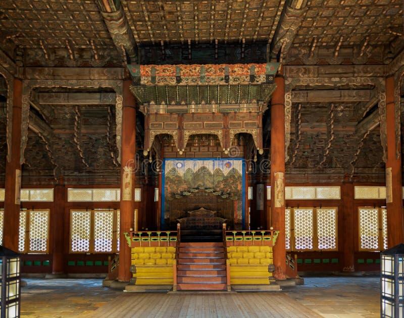 Junghwajeon内部,Deoksugung主要大厅,韩国的皇家的一个宫殿在李氏朝鲜朝代在汉城,韩国 免版税库存图片