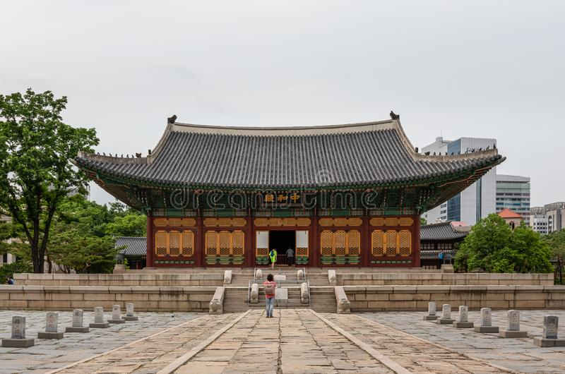 Junghwajeon,Deoksugung主要大厅,韩国的皇家的一个宫殿在李氏朝鲜朝代在汉城,韩国 库存图片