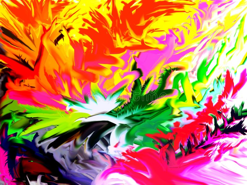 Jungle. An abstract design with many colored forms like vegetation and birds of a tropical jungle stock photos