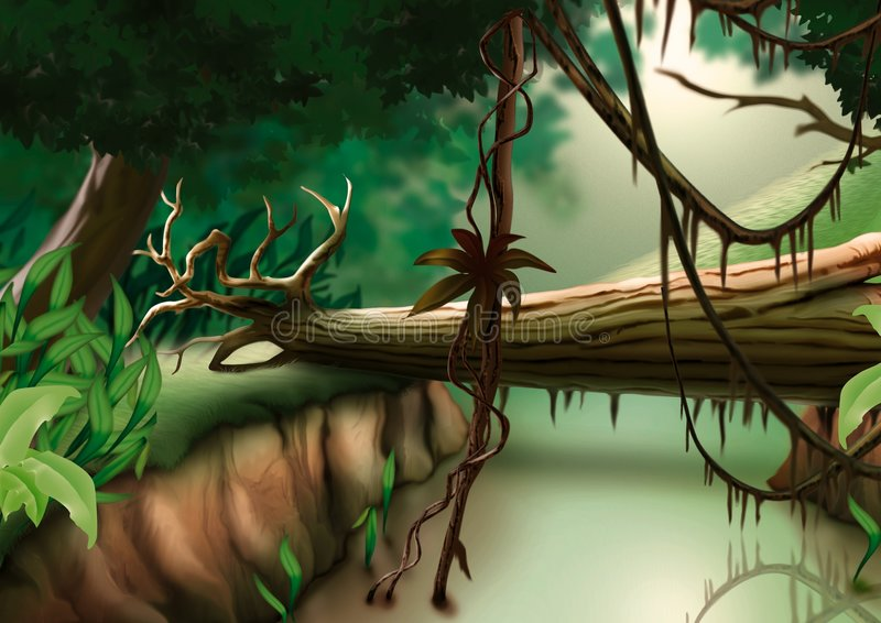 Jungle. Highly detailed cartoon background 31 - illustration