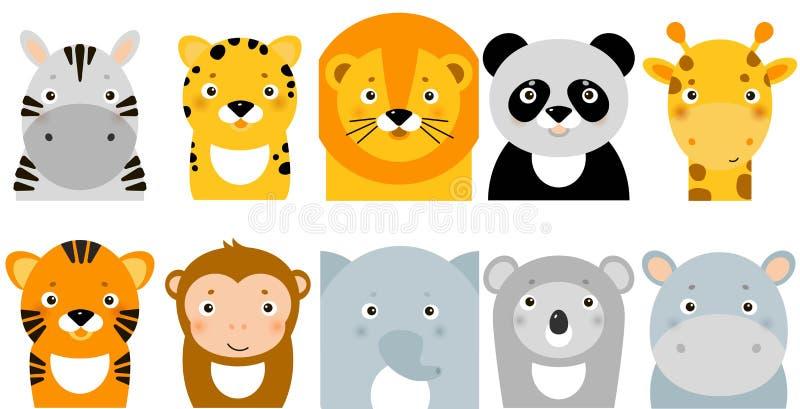 Jungle animal icons, vectordieren, safari-dieren, dierengezichten vector illustratie