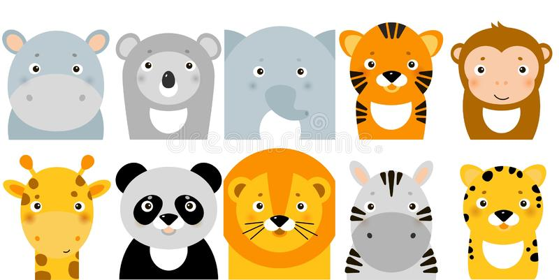 Jungle animal icons, vectordieren, safari-dieren, dierengezichten royalty-vrije illustratie