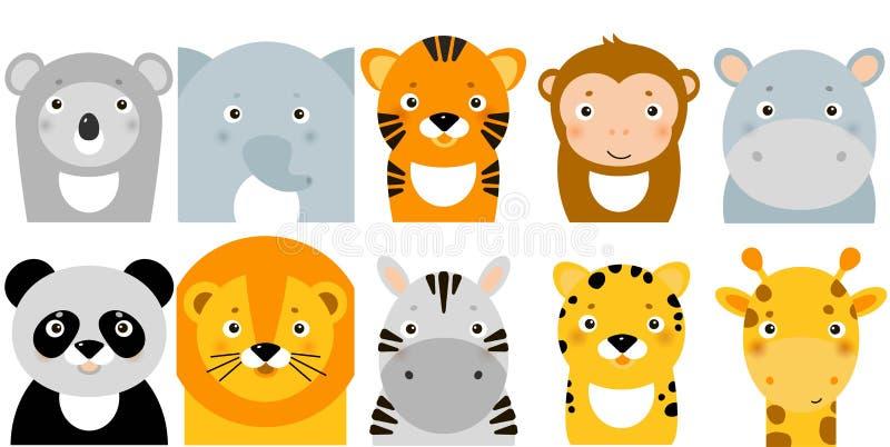 Jungle animal icons, vectordieren, safari-dieren, dierengezichten stock illustratie