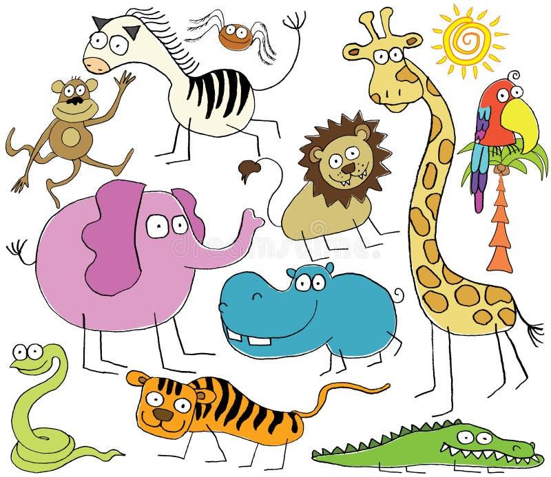 Jungle animals. Vector illustration of funny jungle animals