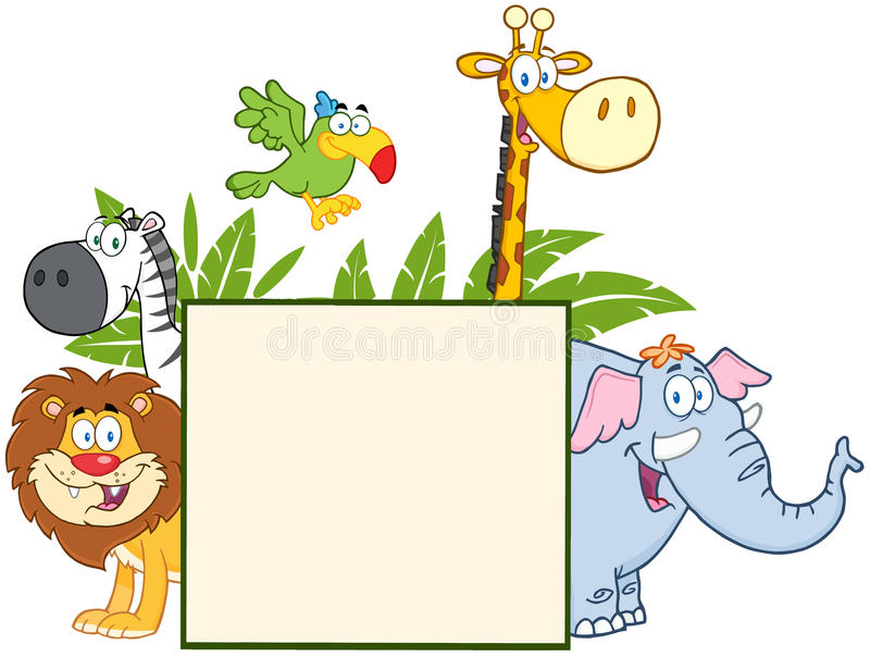 Jungle Animals Behind A Blank Sign With Leaves royalty free illustration
