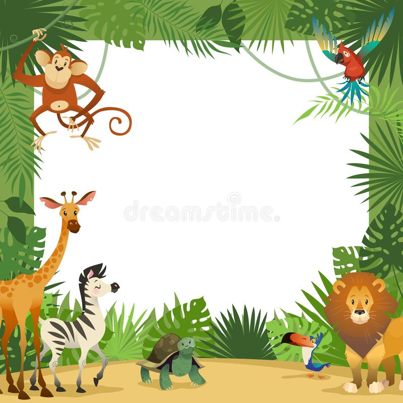 Jungle animals card. Frame animal tropical leaves greeting baby banner zoo border template party children. Cartoon vector illustration stock illustration