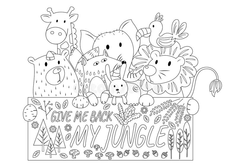 Jungle Animals Colorless royalty free illustration