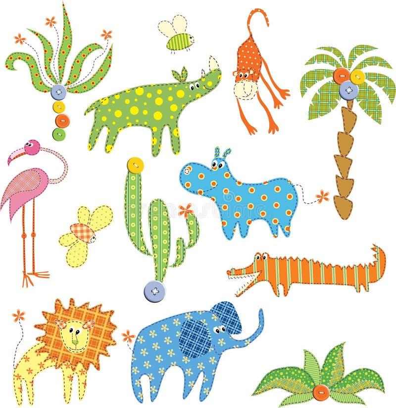 Jungle animals set stock illustration