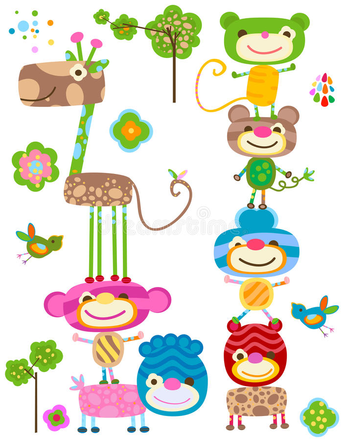 Download Jungle animals set stock vector. Illustration of happy - 23506935