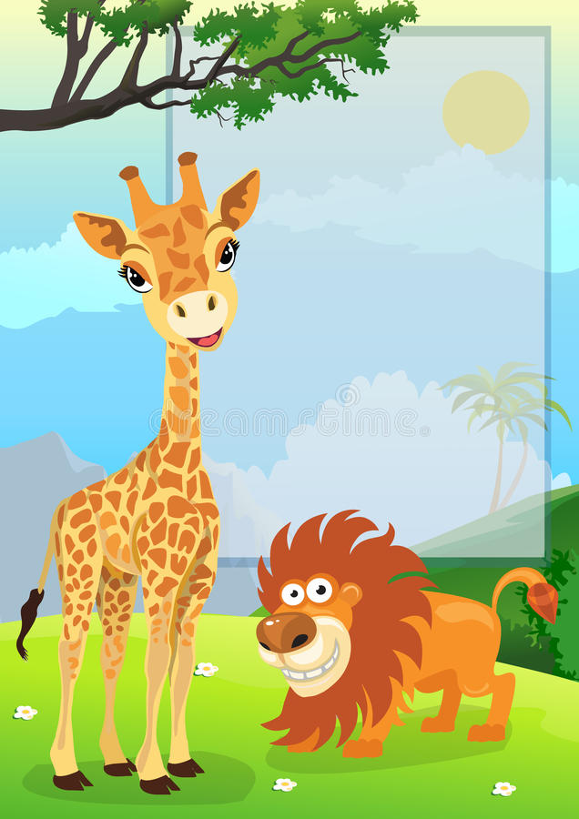 Jungle Animals with Sign royalty free illustration