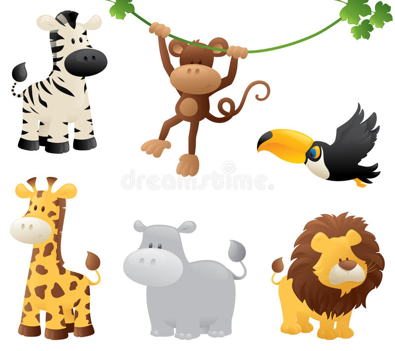 Jungle Animals Stock Vector Illustration Of Chimpanzee