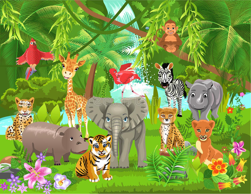 Jungle animals. Vector illustration of various jungle animals