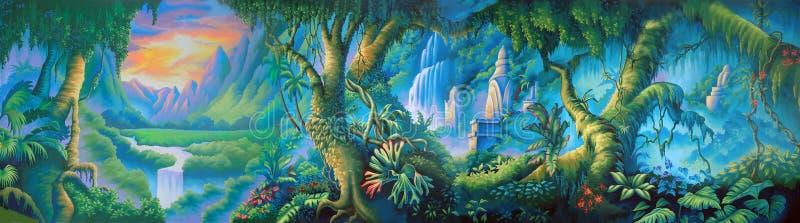 Jungle backdrop royalty free illustration