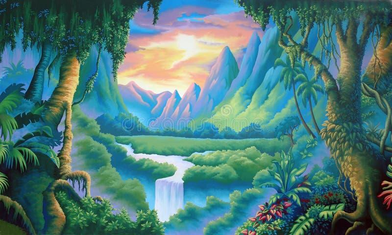 Jungle backdrop vector illustration
