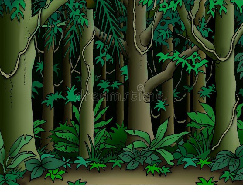 Jungle Background. Looking into a dark cartoonish jungle stock illustration