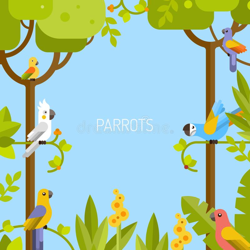 jungle background colorful parrots stock vector