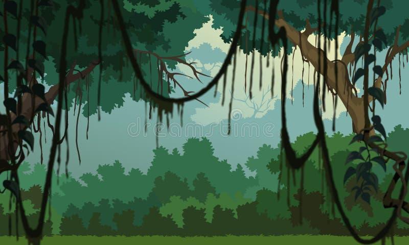 jungle background pleasant scenery stock illustration illustration of bushed green 19052133. Black Bedroom Furniture Sets. Home Design Ideas
