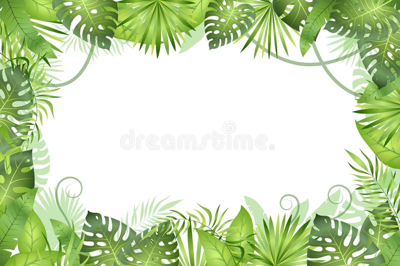 Jungle background. Tropical leaves frame. Rainforest foliage plants, green grass trees. Paradise african wildlife jungle vector illustration