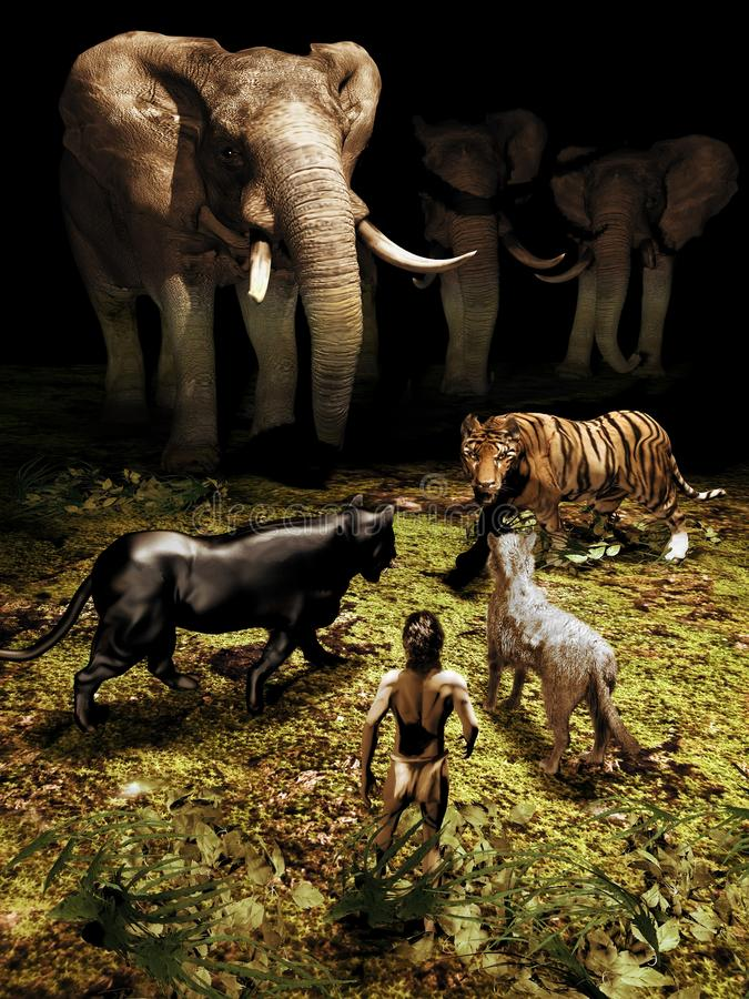 The Jungle Book. Black panther, wolf and elephants defending a young boy against the attack of a tiger inside the wild forest of the jungle stock illustration