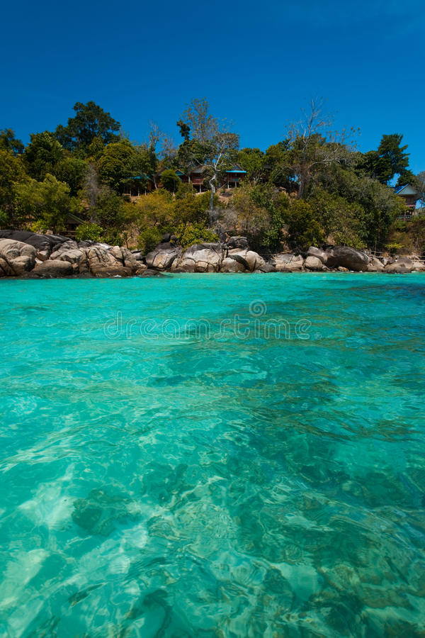 Download Jungle Bungalows Rocky Shore Crystal Clear Sea Stock Image - Image: 17364367