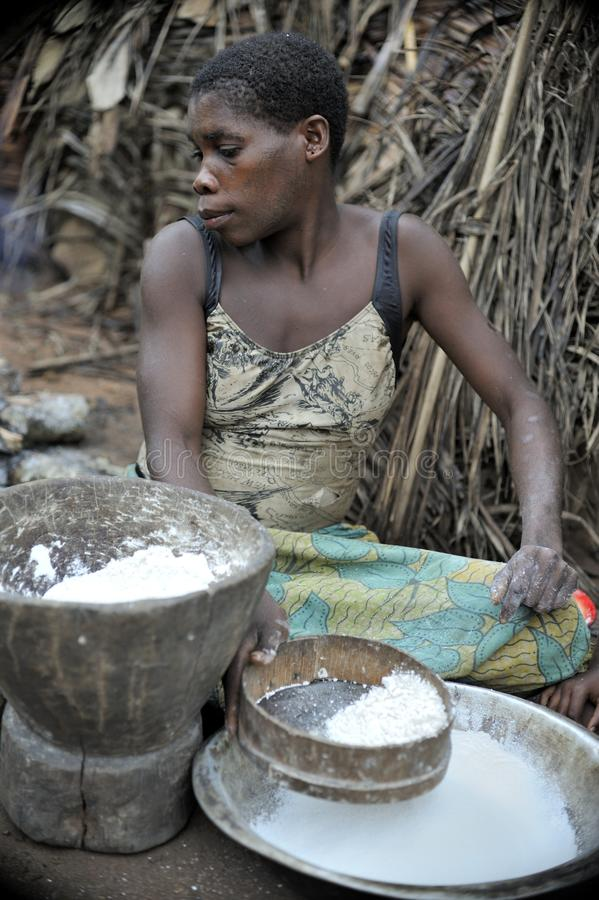 Jungle of CAR. Africa. Jungle of the Central-African Republic. Baka woman cooks food, crushing a flour in a mortar royalty free stock image