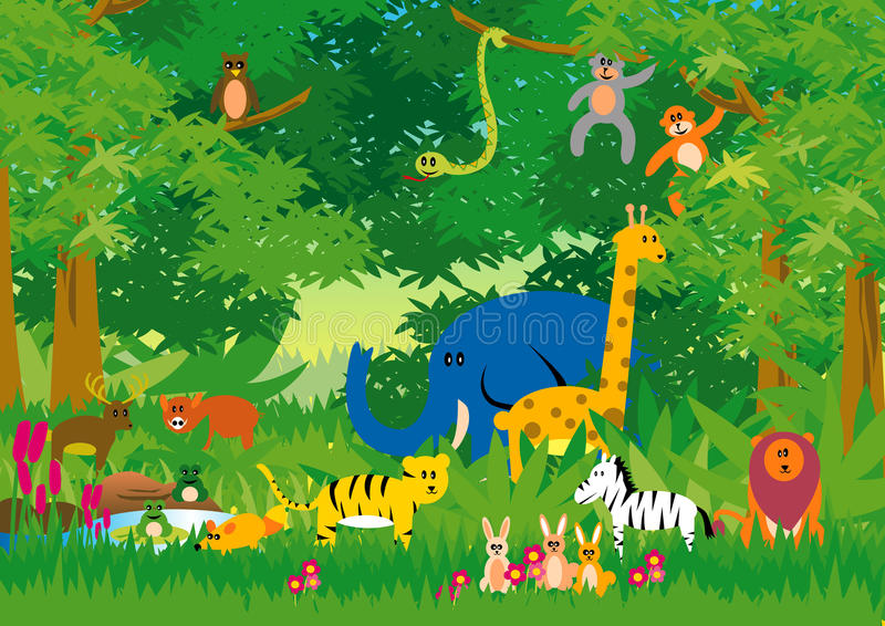 Jungle in Cartoon stock illustration