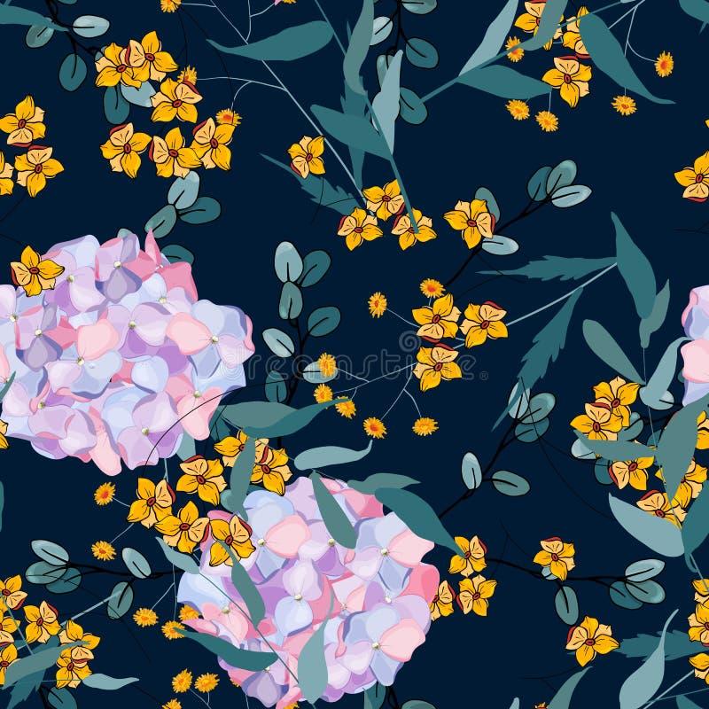 Jungle concept, vector illustration. Mix flowers hydrangea. Decorative print, floral stock illustration
