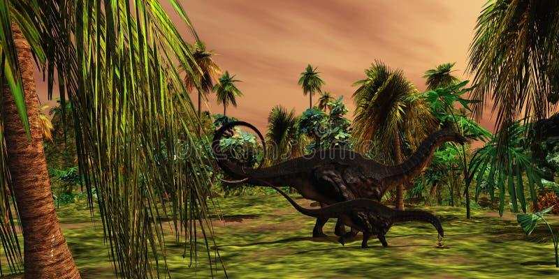 Jungle d'Apatasaurus illustration de vecteur