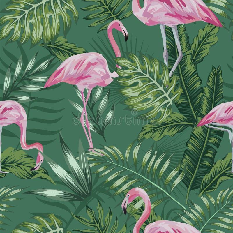 Jungle de vert de flamant de rose sans couture illustration libre de droits