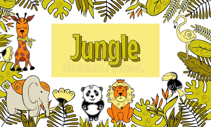 Jungle, Exotic tropical animals and plants frame, card template stock illustration